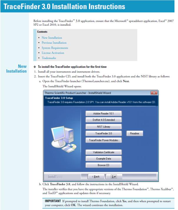 TraceFinder 3.0 Installer
