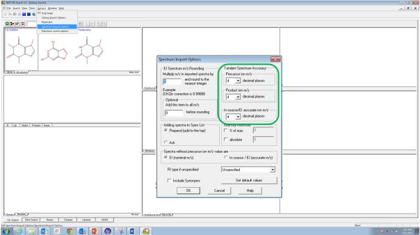 NIST import settings